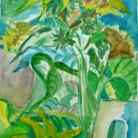 bausteinsonnenblumen 202x202 Malerei